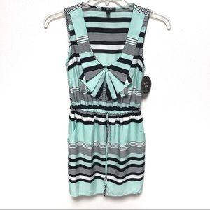 NEW BeBop Mint and Black Striped Dress Medium
